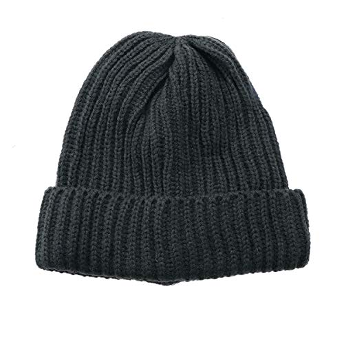 Stripe Single Beanie - Fashion Ribbed Knitted Wool Ski Cap Winter Warm Solid Color Beanies Single Layer Cuff Vertical Stripes Hat (Dark Grey)