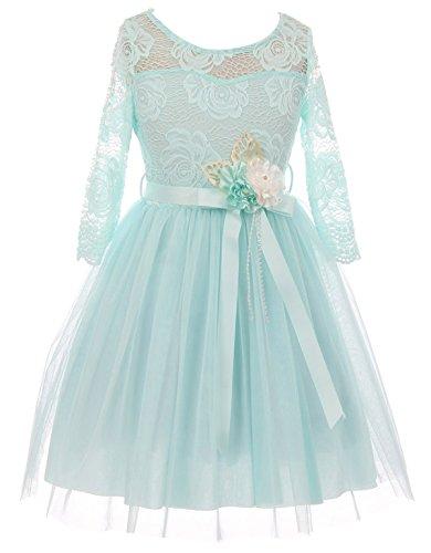 Little Girls Long Sleeve Girls Dress Floral Lace Roses Corsage Easter Flower Girl Dress Aqua 4 (J20KS98) -