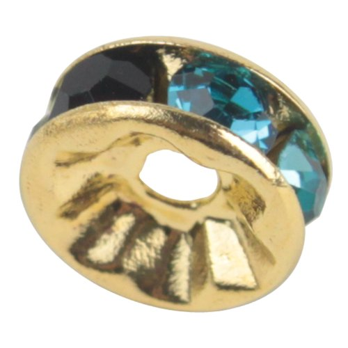 Femitu 100 Pcs Swarovski Crystal Rondelle Spacer Bead Gold Plated 8mm Multicolor