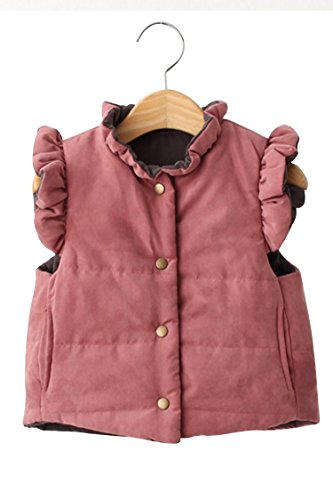 Moly Magnolia Baby Girls Pocket Double Side Wear Vest WaistCoat Pink Brown 110