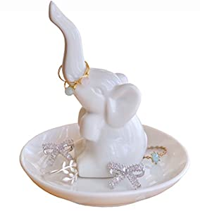 PUDDING CABIN Elephant Ring Holder Jewelry Tray Trinket Dish Engagement Wedding Christmas Birthday Gift