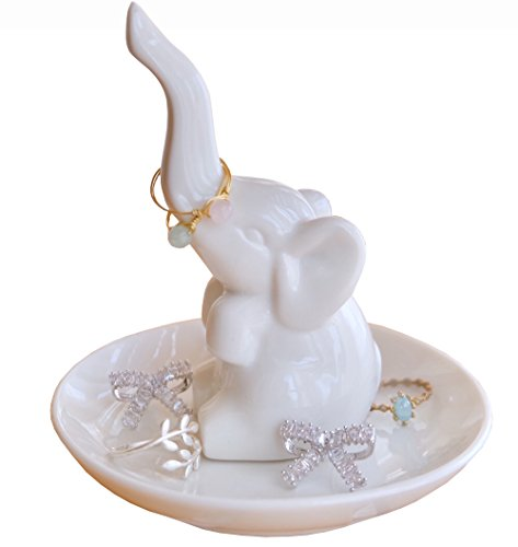 (PUDDING CABIN Elephant Ring Holder Jewelry Tray for Wedding Christmas Birthday, White)