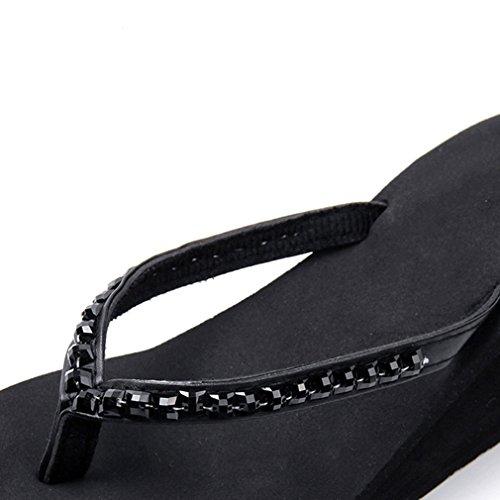 Blue Verano De Zapatillas Mujeres Shoes Cuñas High Libre 36 Heels Antideslizantes Beach QJIAXING Black Al Chanclas Sandalias Muffin Aire Bottom Fw0YqHHX