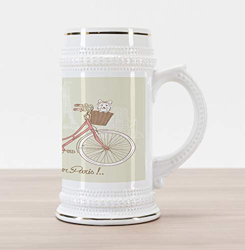 Ambesonne Dog Beer Stein Mug, Romantic Postcard from Paris Pattern Dog in Basket of the Bicycle Illustration, Traditional Style Decorative Printed Ceramic Large Beer Mug Stein, Eggshell and Coral