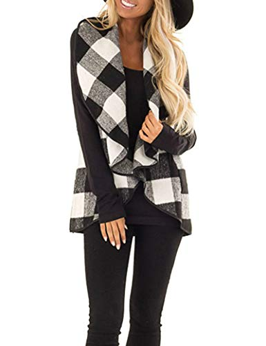 - Unidear Womens Draped Open Front Lapel Sleeveless Plaid Vest Waterfall Cardigan Jackets with Pockets #2Grey 2XL