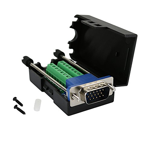 Twinkle Bay D-SUB DB15 Male 15Pin Jack Port to Terminal Breakout Board Connector 3Row Plug, DR15 VGA Male with Case