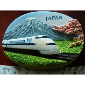 Japanese Bullet Train Mount Fuji Japan Thai Magnet Hand Made Craft Bullet Train Mount Fuji Japan