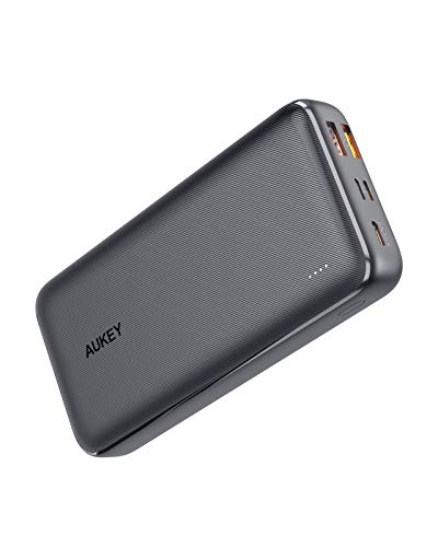 AUKEY USB C Power Bank 20000mAh, Portable Charger Large-Capacity with 3 Outputs & 3 Inputs, Power Bank for iPhone 11/11 Pro with Lightning Input, USB-C Power Bank for Samsung Galaxy