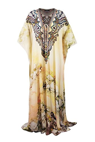 9fc112b947 Shahida Parides - Floral-Printed White Lace-Up Caftan Dress In Cherry  Blossom Print