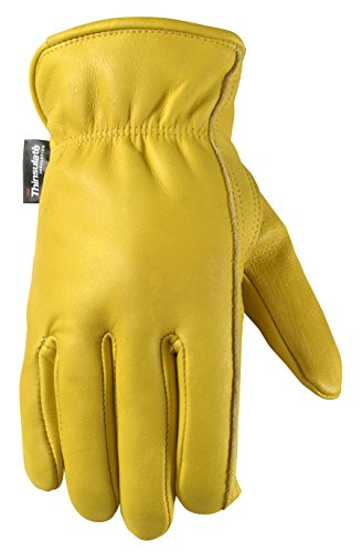 - Men's Winter Leather Work Gloves, 100-gram Thinsulate, Cowhide, Lined Leather, Large (Wells Lamont 1108L)