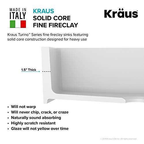Kraus KFR1-33GWH Turino Fireclay Kitchen, White Farmhouse Sink