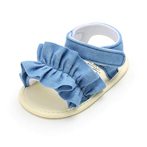 Infant Baby Girls Summer Sandals Folwer Soft Sole Toddler First Walker Crib Dress Shoes (12-18 Months Infant, C-Denim Blue Baby Girl Shoes ()