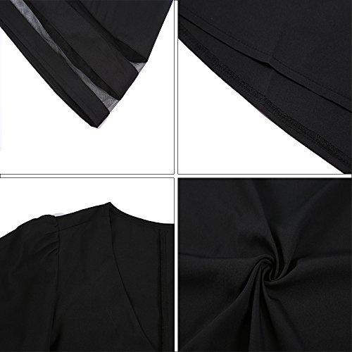 Haut Chic Manche JunJunBag V 3 Noir Chemise Blouse Top Col Femme Cloche 4 Casual dzwwTqR