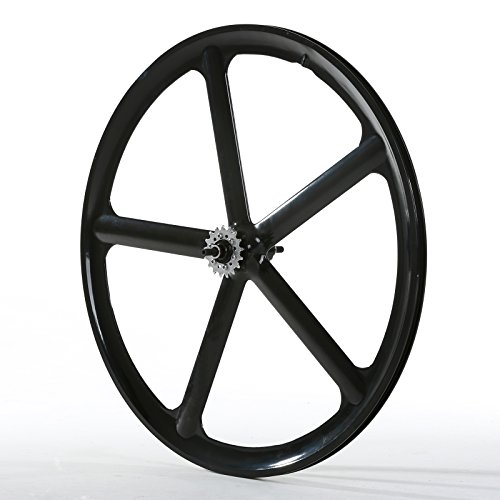 Wheel Rear Magnesium (Solomone Cavalli SC Fixed Gear 700c Tri Spoke 5-Spoke Rim Rear Single Speed Fixie Bicycle Wheel)