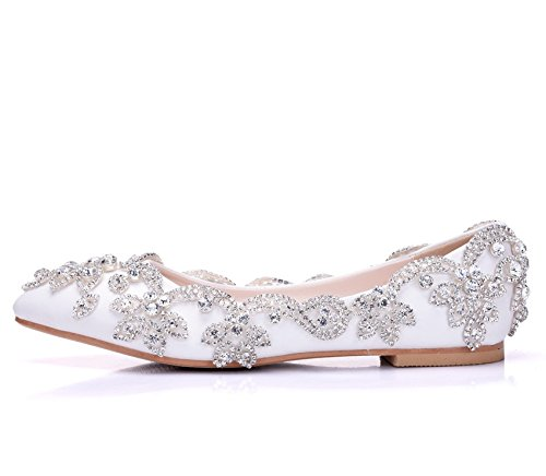 Wedding Ladies Heels White 42 Flats Rhinestone For Pumps White Size Loafers Bridal On 35 Women Low ZPL Women's Ballet Glitter Slip Shoes CW5Sw6q