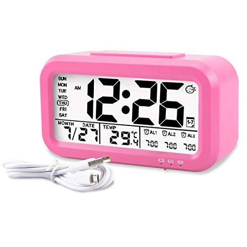 - Aitey Alarm Clock, Digital Alarm Clock for Kids, Time/Date/Temperature Display, Snooze Function, 3 Alarms, Optional Weekday Mode, USB Charging (Pink)