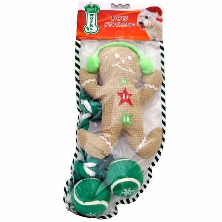 Gingerbread Man Stocking (Pet Works Holiday Stocking Set Gingerbread Man (4 pack))