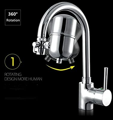Jricoo Faucet Water Filter Stainless-Steel Reduce Chlorine High Water Flow, Water Purifier with Ultra Adsorptive Material, Water Filters for Faucets-Fits Standard Faucets
