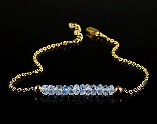 Rainbow Moonstone Beaded Bar Bracelet Natural Gemstone Dainty Jewelry 14k Gold Filled 925 Sterling Silver Chain June Birthstone