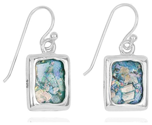 - Rectangular Sterling Silver Earrings with Roman Glass