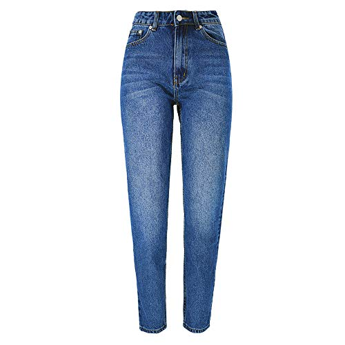 Beauty Garden Womens Solid Blue High Waist Autumn Casual Jeans Washed Straight Denim Cotton Pants Party Club Wear