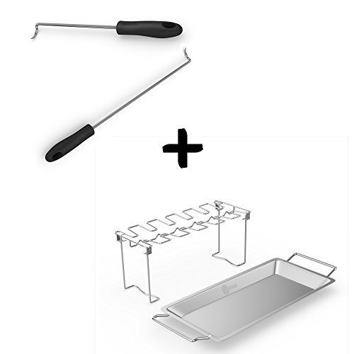Pigtail Food Flipper Hooks + Chicken Wing & Leg Rack For Grill Smoker or Oven - Stainless Steel Vertical Roaster Stand & Drip Pan For Cooking Vegetables In Juices - Dishwasher Safe BBQ Accessories by Cave Tools