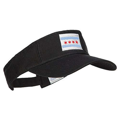 Chicago City Flag Embroidered Pro Style Cotton Washed Visor - Black OSFM by e4Hats.com (Image #3)