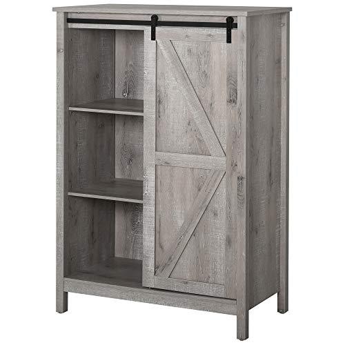 HOMCOM Cupboard Storage Cabinet/Home 3-Tier Organizer with Barn Door, and Adjustable Shelf, Grey Oak