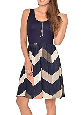 Poulax Women Casual Sleeveless Striped Print Swing Mini T Shirt Tank Dress with Pockets