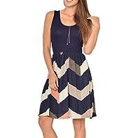 Poulax Women Casual Sleeveless Striped Print Swing Mini T Shirt Tank Dress