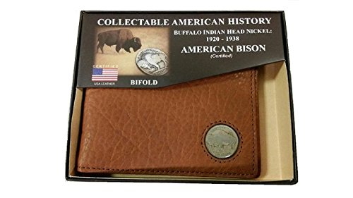 American Bison Buffalo Nickel Men's Bifold Wallet (3.5 Inch Buffalo)