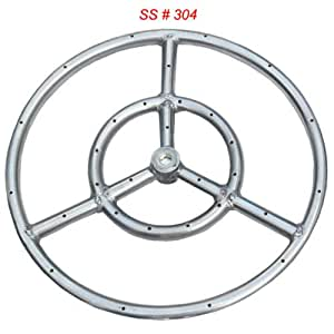 Stainless Steel Fire Pit Burner Ring, 18-Inch dia, SS #304