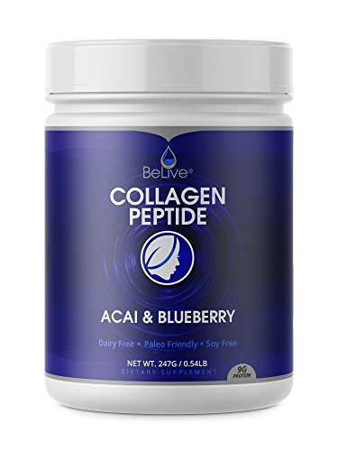 Collagen Peptides Powder Hydrolyzed Protein for Women and Men | Designed for Healthier Hair, Skin and Nail, Anti-Aging, Joint Support, Digestive System. Blueberry & Acai Flavored