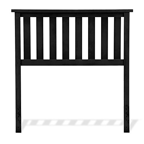 Belmont Wooden Headboard Panel with Slatted Grill Design, Black Finish, Twin (Black Twin Headboard)