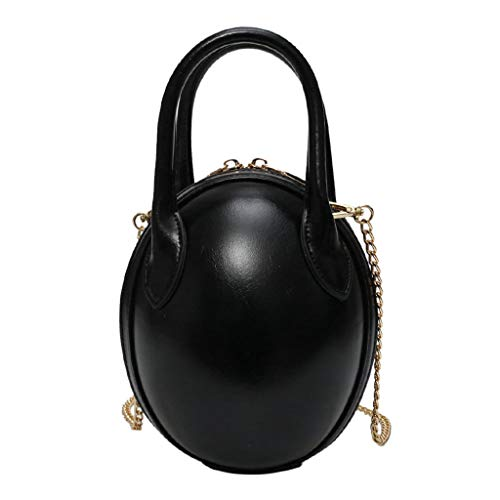 Bag Leather Shoulder Beaded (Kingwo New Dinosaur Egg Shape Crossbody Bag Leather Bags Shoulder Bags Chain Bags Purses for Women Girls (Black))