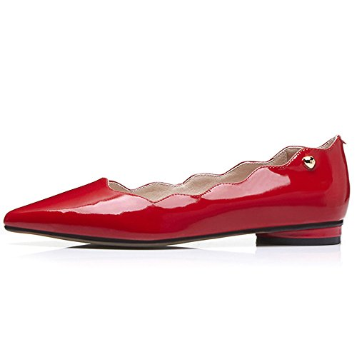 Flats Toe Pointed Dress Womens Handmade Red Patent Ballet Cute Leather Shoes Heel Flat Nine Seven Comfort IqXwOO