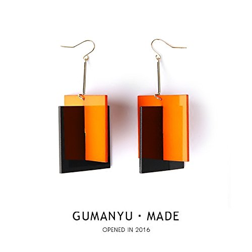 Ancient eel exclusive design ear clip earrings Europe exaggerated Eclectic Street shot hit bright orange color ()