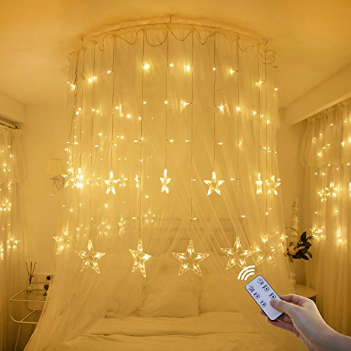 Star Lights,Star String Lights for Bedroom Twinkle Lights LED Window Curtain String Light with 12 Stars 138 LEDs 8 Modes, for Xmas Wedding Party Garden Valentine\'s Day Outdoor Indoor Wall Decors