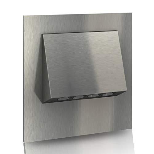 LED Treppenbeleuchtung 230V Warm weiß EDELSTAHL mit UP Treppenlicht  Wandleuchte