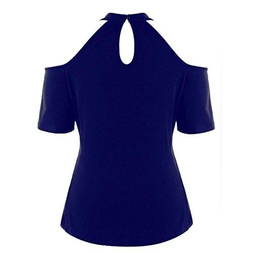 Moda Camicetta Shirt Blu Donna Top Manica Da Donna Off Taglia Maglietta Stampare Con Floreale Abbigliamento Estate Oyeden Cerniera 5XL XL Ricamo Corta Casual Grossa T Shoulder 4qp6nXxZ