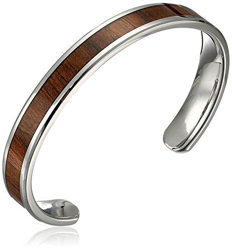 Men's Stainless Steel Light Wooden Inlay Cuff Bracelet (Wood Wooden Bracelets)