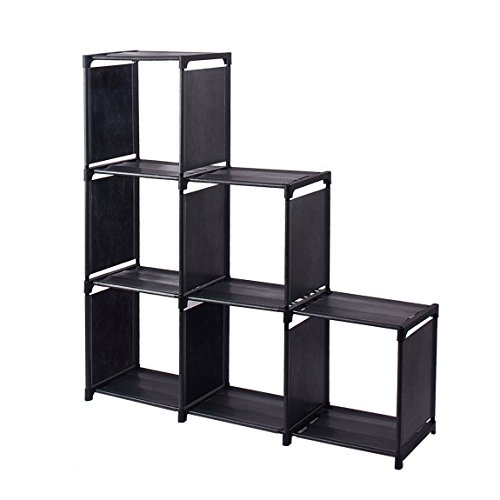 6-Cube Storage Organizer Cabinet with 3-tier Shelf Closet for Toy/Book/Shoe/Clothes Black