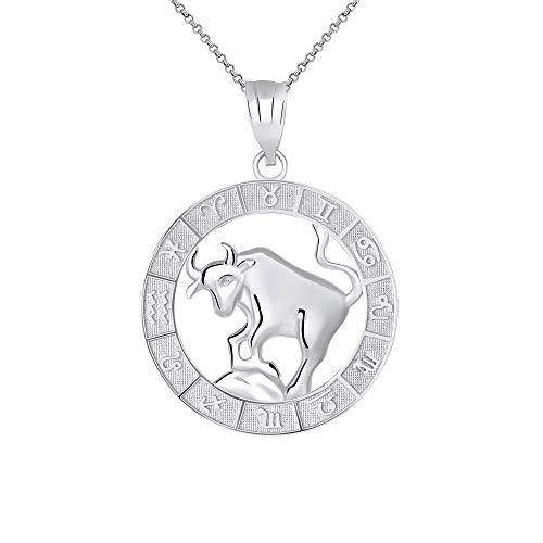 CaliRoseJewelry Sterling Silver Taurus Zodiac Pendant Necklace, 16
