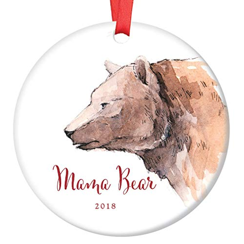 Mama Bear Christmas Ornament 2018 Present to New Mommy Infant Son Daughter Ceramic Family Collectible 1st Holiday Mother Newborn Girl Boy Child 3