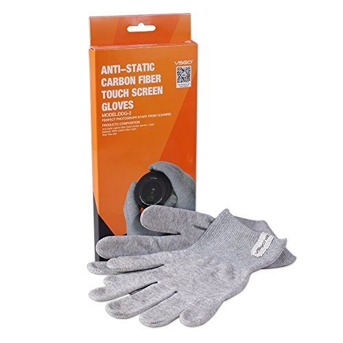 VSGO 1 Pair Nylon Anti-Static Carbon Fiber Touch Screen Cleaning Gloves - Use on DSLR, SLR, Digital Camera - for Canon, Nikon, Sony, etc by VSGO