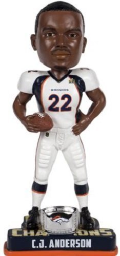 FOCO NFL Denver Broncos C.J. Anderson #22 Super Bowl 50 Champions Bobble Head Toy, One Size, White