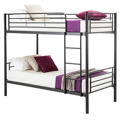 Bunk Bed Package - Mecor Twin Over Twin Metal Bunk Bed - with Removable Ladder - for Kids/Teens/Adults/Children - Twin Over Twin/Black