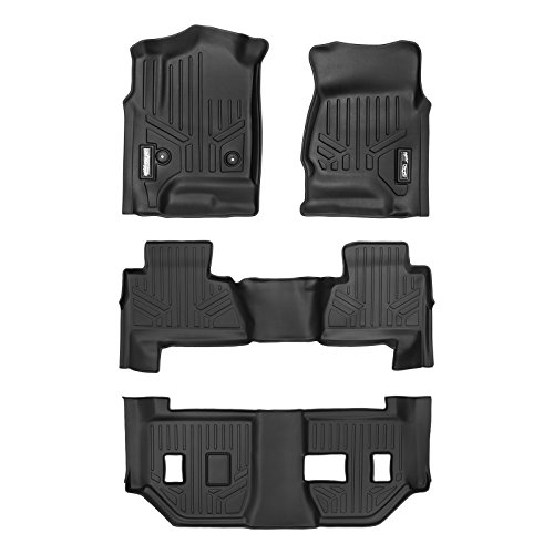SMARTLINER Floor Mats 3 Row Liner Set Black for 2015-2018 Chevrolet Suburban / GMC Yukon XL (with 2nd Row Bench Seat) - Gmc Yukon 2nd Row Bench