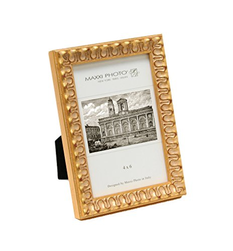 Maxxi Designs Photo Frame with Easel Back, 4 x 6'', Antique Gold Leaf Wood Casa Bella by Maxxi Designs