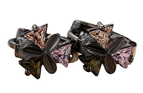 Smile YKK Bijou Boucles D'oreille Motif Cristal Coloré Acier inoxydable 18K Rose Marron Jaune